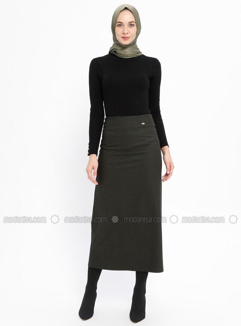 Khaki - Checkered - Fully Lined - Skirt