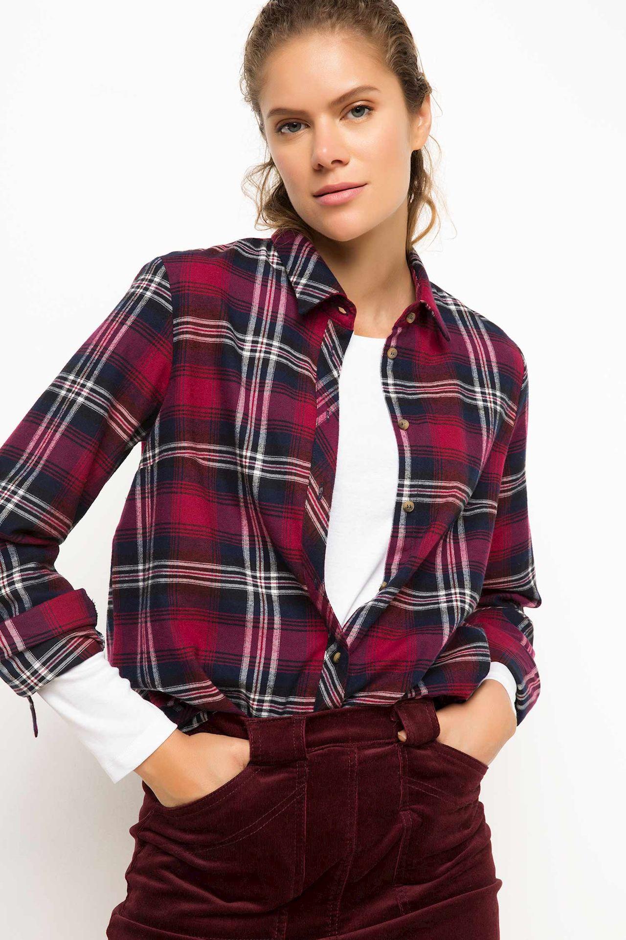 Tesettür Bluz Gömlek DeFacto Bordo Kadın 34