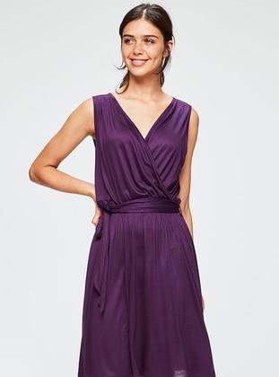 Plum - V neck Collar - Nightdress