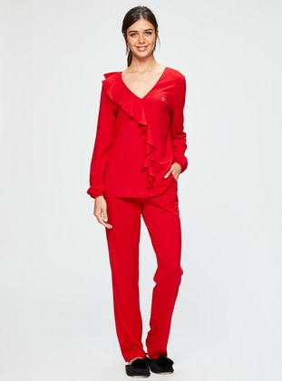Red - V neck Collar - Pyjama