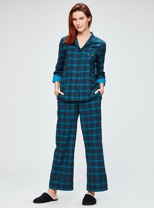Navy Blue - Petrol - V neck Collar - Multi - Pyjama