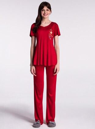 Red - Crew neck - Pyjama