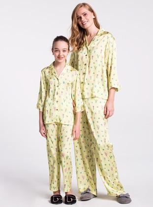 Yellow - V neck Collar - Multi - Kids Pijamas