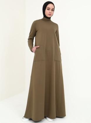 Khaki - Polo neck - Unlined - Cotton - Dresses