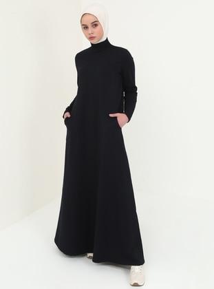 Navy Blue - Polo neck - Unlined - Cotton - Dresses