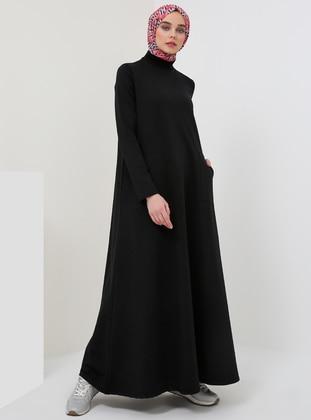 Black - Polo neck - Unlined - Cotton - Dresses