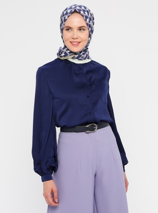 Navy Blue - Button Collar - Blouses