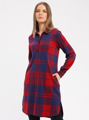 Red - Plaid - Point Collar - Nightdress