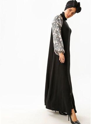 Black - Beige - Multi - Unlined - Crew neck - Abaya