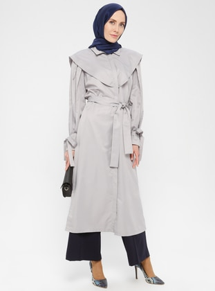Gray - Unlined - Point Collar - Crepe - Trench Coat