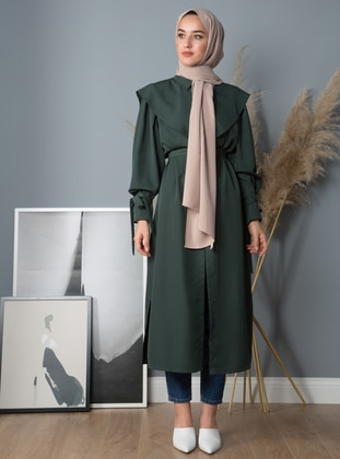 Green - Unlined - Point Collar - Crepe - Trench Coat