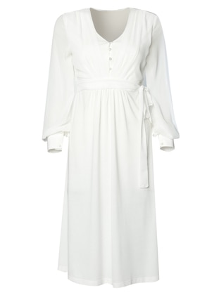 White - Ecru - V neck Collar - Nightdress