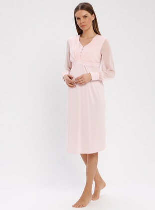 Pink - V neck Collar - Nightdress