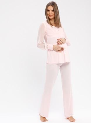 Pink - V neck Collar - Pyjama