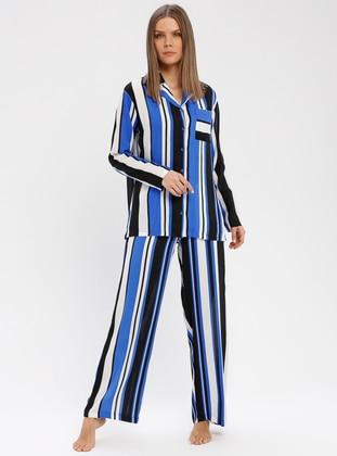 Saxe - V neck Collar - Stripe - Pyjama