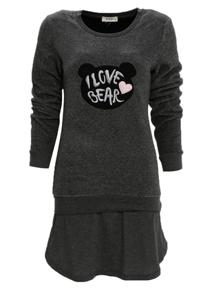 Gray - Anthracite - Crew neck - Nightdress