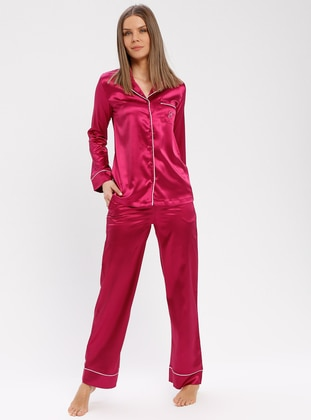 Pink - Fuchsia - V neck Collar - Nightdress