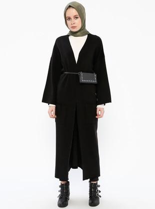 Black - Acrylic -  - Cardigan - İLMEK TRİKO