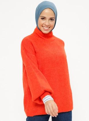 Orange - Polo neck - Acrylic -  - Jumper