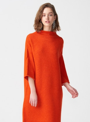 Orange - Polo neck -  - Tunic