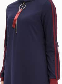 Navy Blue - Stripe - Crew neck - Unlined - Cotton - Dresses