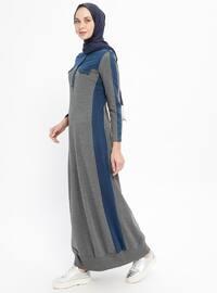 Smoke-coloured - Crew neck - Unlined - Cotton - Dresses