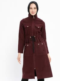 Maroon - Unlined - Polo neck - Acrylic - Topcoat