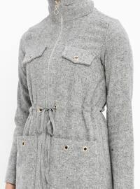 Gray - Unlined - Polo neck - Acrylic - Topcoat