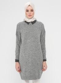 Gray - Polo neck - Cotton - Tunic
