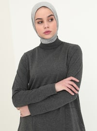Anthracite - Polo neck - Unlined - Cotton - Dresses