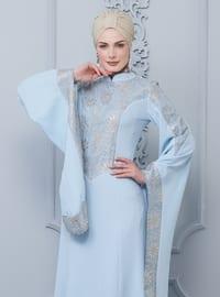 Blue - Unlined - Crew neck - Viscose - Muslim Evening Dress