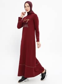 Maroon - Crew neck - Unlined - Cotton - Dresses