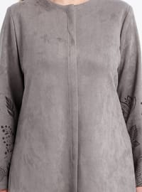 Gray - Multi - Unlined - Crew neck - Plus Size Coat