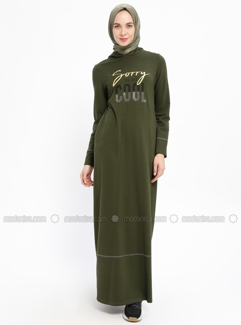 Khaki - Crew neck - Unlined - Cotton - Dresses