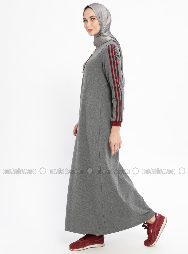 Smoke-coloured - Stripe - Crew neck - Unlined - Cotton - Dresses