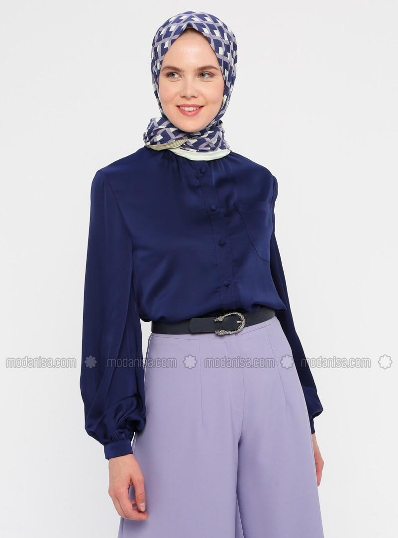 Navy Blue - Button Collar - Blouses