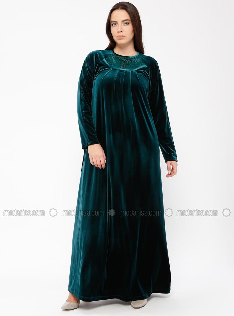 Green - Unlined - Crew neck - Plus Size Dress