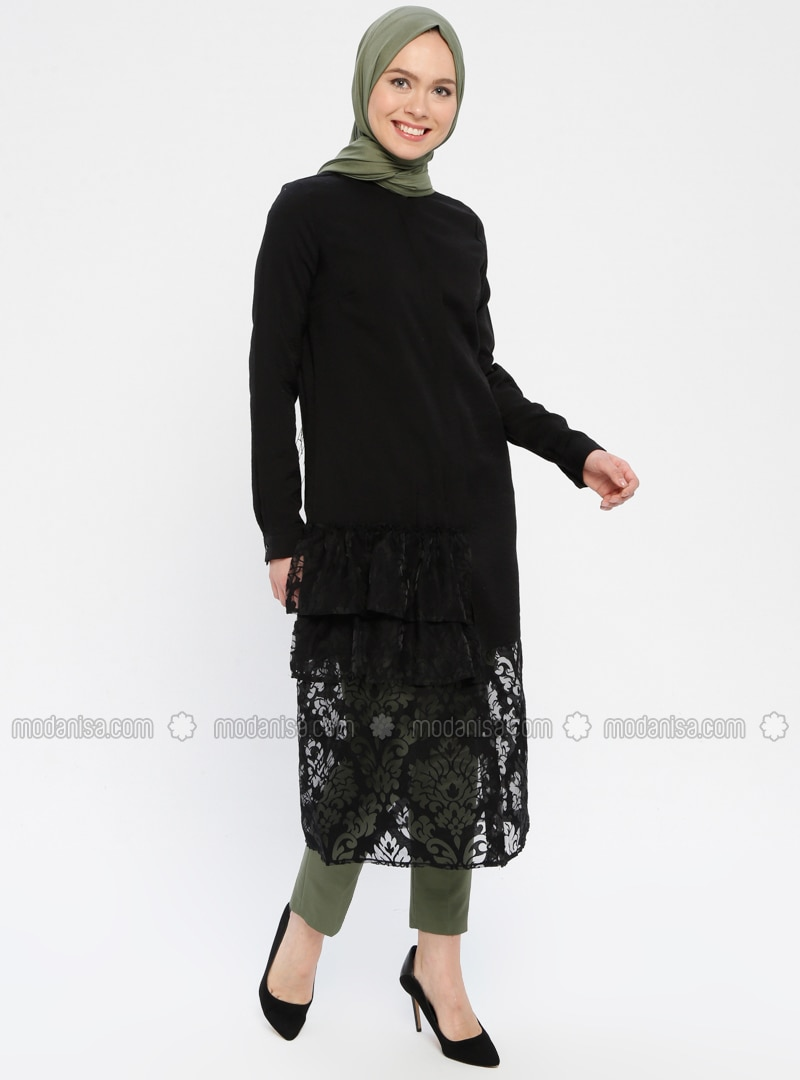 Black - Floral - Button Collar - Tunic