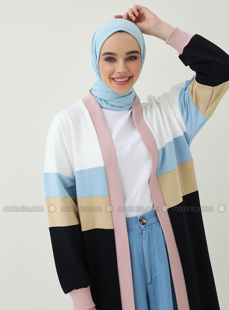 Blue - White - Navy Blue - Beige - Cotton - Cardigan