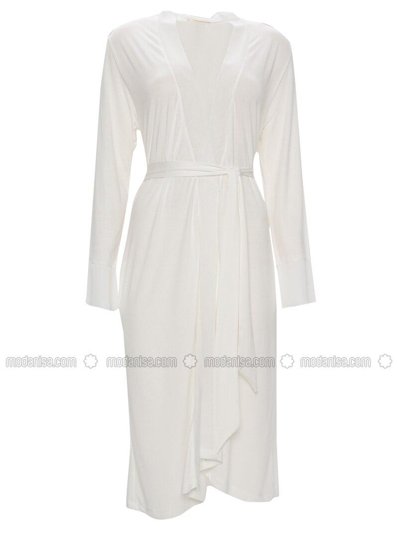 White - Ecru - Viscose - Morning Robe
