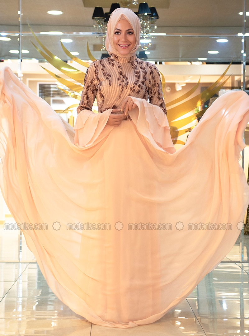 2af7a50315 Salmon - Fully Lined - Crew neck - Viscose - Muslim Evening Dress