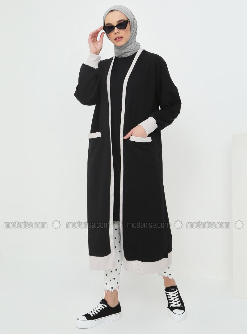 Black - White - Ecru - Cotton - Cardigan