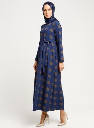 Navy Blue - Minc - Multi - Crew neck - Unlined - Dresses