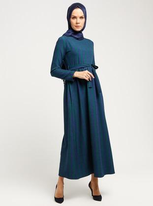 Green - Navy Blue - Multi - Crew neck - Unlined - Dresses