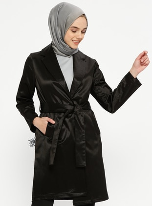 Black - Unlined - Shawl Collar - Cotton - Trench Coat