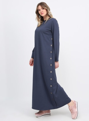 Anthracite - Unlined - Crew neck - Plus Size Dress - Alia