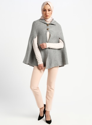 Gray - Unlined - Poncho