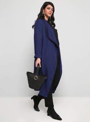 Black - Saxe - Plaid - Unlined - Shawl Collar - Plus Size Coat
