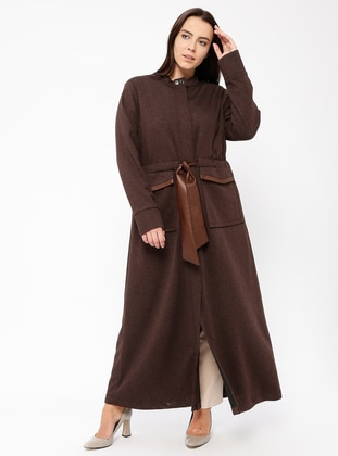 Brown - Polo neck - Dresses