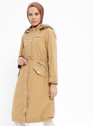 Camel - Fully Lined - Polo neck - Cotton - Coat